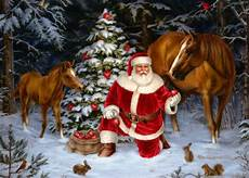 santa with two horses card by lpg greetings