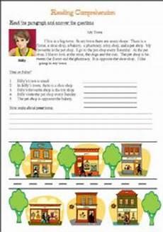 town worksheets 18489 my town reading comprehension esl worksheet by jeff