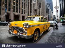 Vintage Yellow New York Taxi Nyc Usa Stock Photo