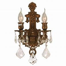 worldwide lighting versailles 2 light gold with clear crystal wall sconce w23315fg12
