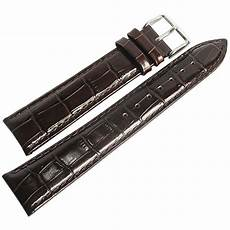 20mm Leather Band by 20mm Debeer Mens Brown Crocodile Grain Leather