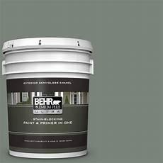 behr premium plus ultra 5 gal n410 5 village green gloss enamel exterior paint and primer