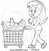 Clipart Of A Cartoon Black And White Happy Woman Pushing