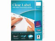 avery 11417 index maker clear label dividers 8 tab letter white newegg com