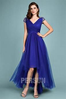 Robe De Bal Bleu Roi Style Bascule Col En V Mancheron Orn 233