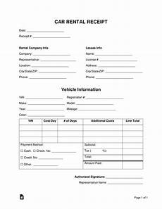 free car rental receipt template word pdf eforms free fillable forms