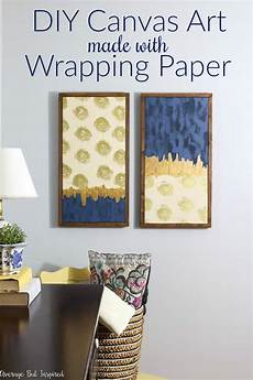 upgrade bare walls with diy canvas art it s made from wrapping paper