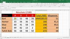 comment calculer sur excel calculer une somme et une moyenne formules cours excel
