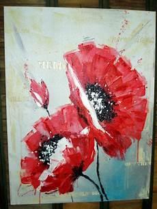toile ou tableau peinture moderne acrylique coquelicots