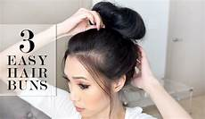 3 easy bun hairstyles lesassafras youtube