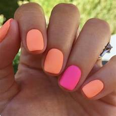 perfect summer nails bright neon and orange matte nails