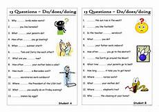 13 questions 6 do does doing pair work worksheet free esl printable worksheets made by
