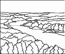 fluss durchzieht landschaft ausmalbild malvorlage
