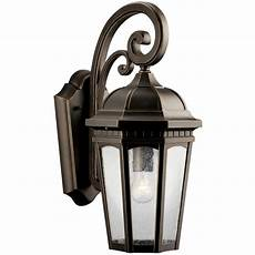 kichler outdoor wall light with clear glass in rubbed bronze finish 9033rz destination lighting