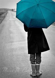Walking in Rain with Umbrella