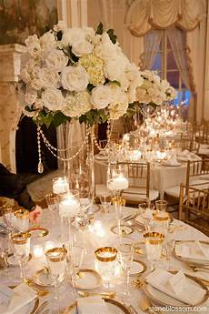 elegant white and crystal centerpiece wedding rosecliff mansion newport weddings decorations
