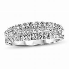 1 1 8 ct t w princess cut and diamond three row anniversary band in 18k white gold i