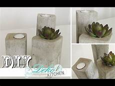 geschenke aus beton selber machen diy stylische deko kerzenleuchter aus beton einfach