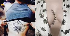 these pretty side boob tattoos is a cool idea for girls