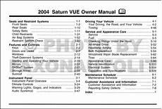 service and repair manuals 2004 saturn vue user handbook 2004 saturn vue owner s manual original