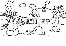 ausmalbilder haus mit schnee kostenlose malvorlage schneem 228 nner schneemann vor dem