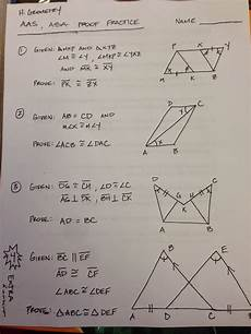 geometry honors worksheets 734 honors geometry vintage high school section 4 5 proof practice using and aas