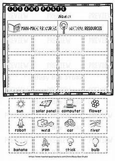 man made natural resources category sort cut and paste worksheets