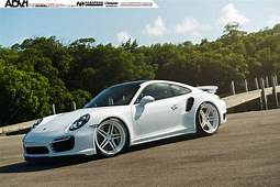 White Porsche Turbo S  ADV05 MV2 CS Series Wheels ADV1