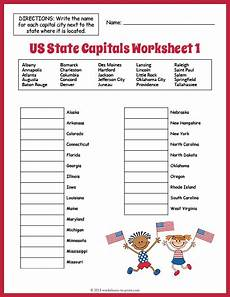 us state capitals worksheet 1
