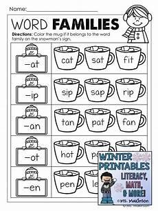 winter phonics worksheets 20073 winter printables literacy math science word families literacy rhyming worksheet