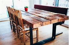 tisch esstisch mit flachstahl beinen und alten