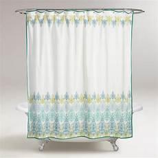 shower curtains with green blue green print shower curtain world market