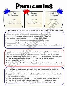 mixed participles esl worksheet by karina1984