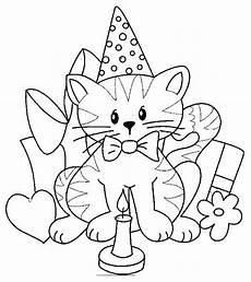 Malvorlagen Geburtstag Birthday Cat Coloring Page Stempel Katzen Geburtstag