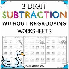 subtraction with regrouping and without regrouping worksheets 10703 3 digit subtraction without by learning desk teachers pay teachers
