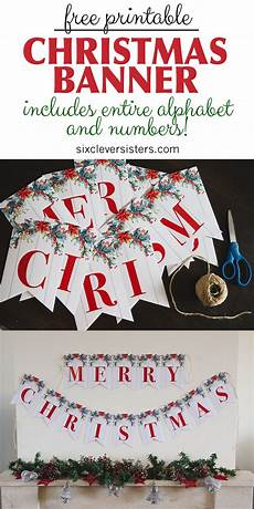 printable merry christmas banner six clever
