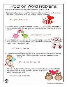 valentine s day fractions word problems worksheet answer key woo jr kids activities