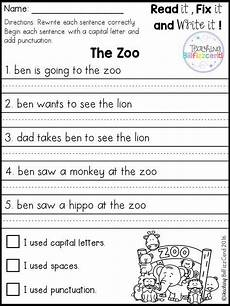 free fix it up sentences kindergarten writing writing