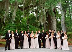 southern wedding pink and black bridal party