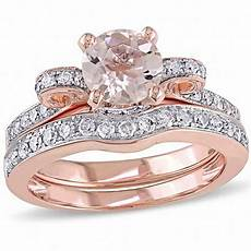 6 0mm morganite and 1 2 ct t w diamond vintage style bow bridal in 14k rose gold