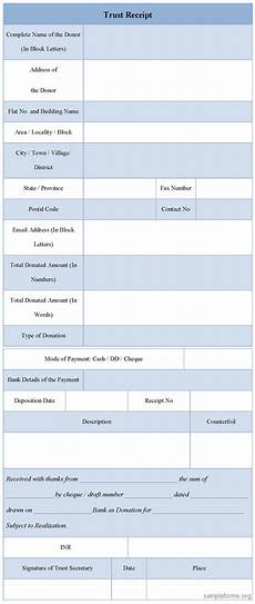 trust receipt form sle forms
