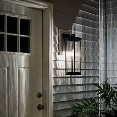 barras 20 quot 1 light outdoor wall light with clear ribbed glass black kichler lighting