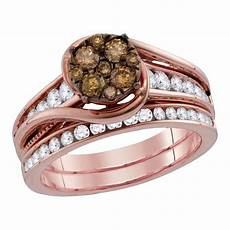 14kt rose gold womens cognac brown colored diamond bridal wedding engagement ring band