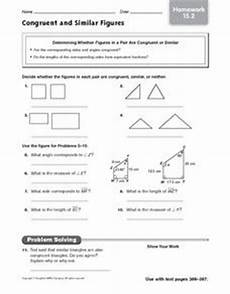 congruent and similar figures homework 15 2 worksheet for 5th 8th grade lesson planet