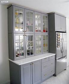 Kitchen Storage Furniture Ikea Stacked Two Regular Height Ikea Cabinets To Make A