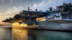 Wallpaper Aircraft Carrier Warship US Navy Sunset