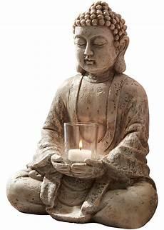 bilder buddha ruhevolles ambiente toller deko buddha mit windlicht grau