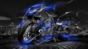 Tony Kokhan Moto Smoke Crystal City Bike Blue Neon El