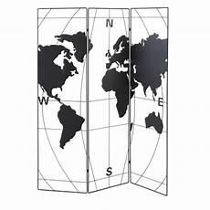 paravent ajour 233 carte du monde en m 233 tal noir mat