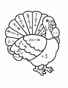 color by number systems of equations worksheet 16138 one step equations thanksgiving turkey математика